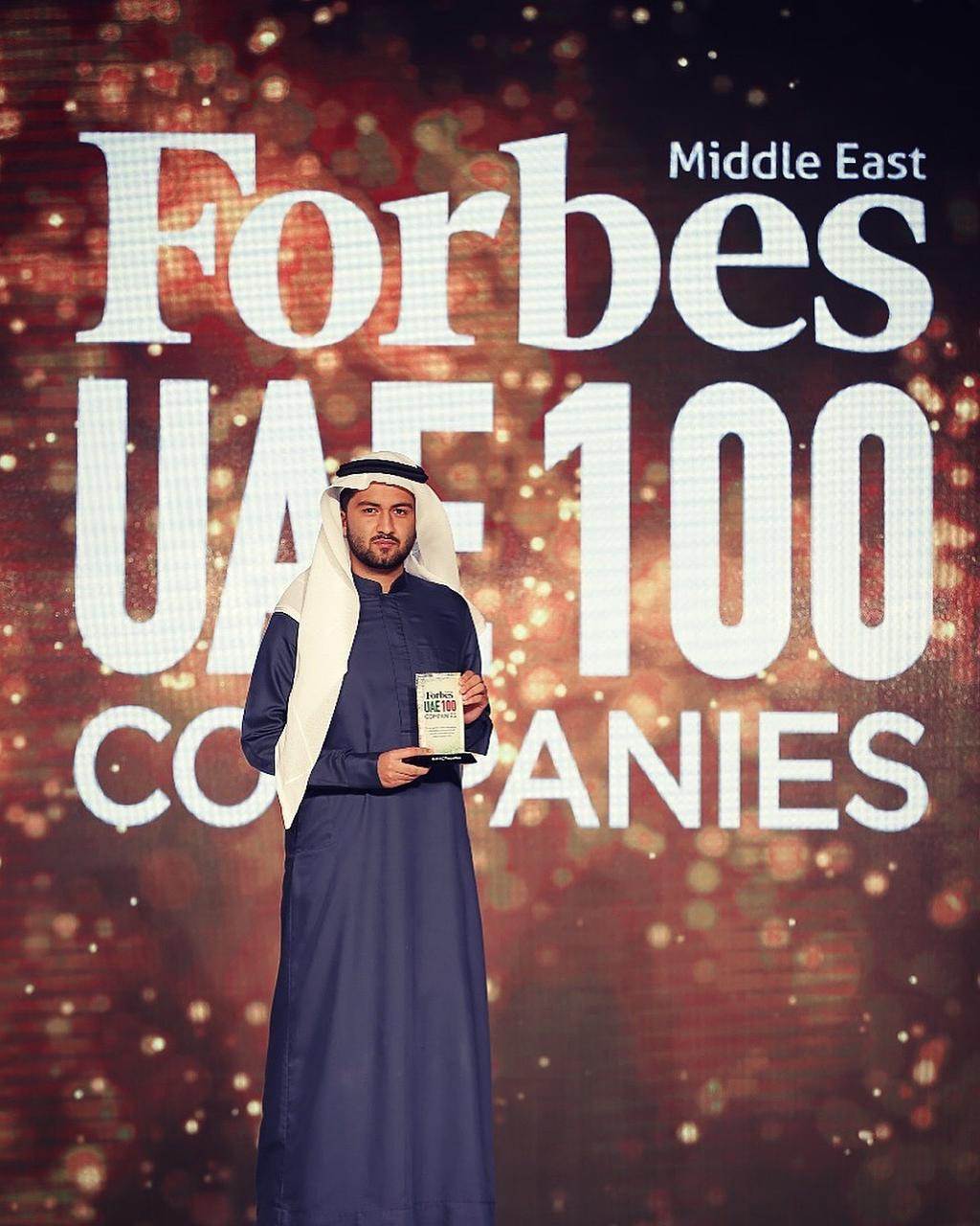 Receiving the award on behalf of DAMAC Properties for Forbes Top 100 UAE Companies, 2018